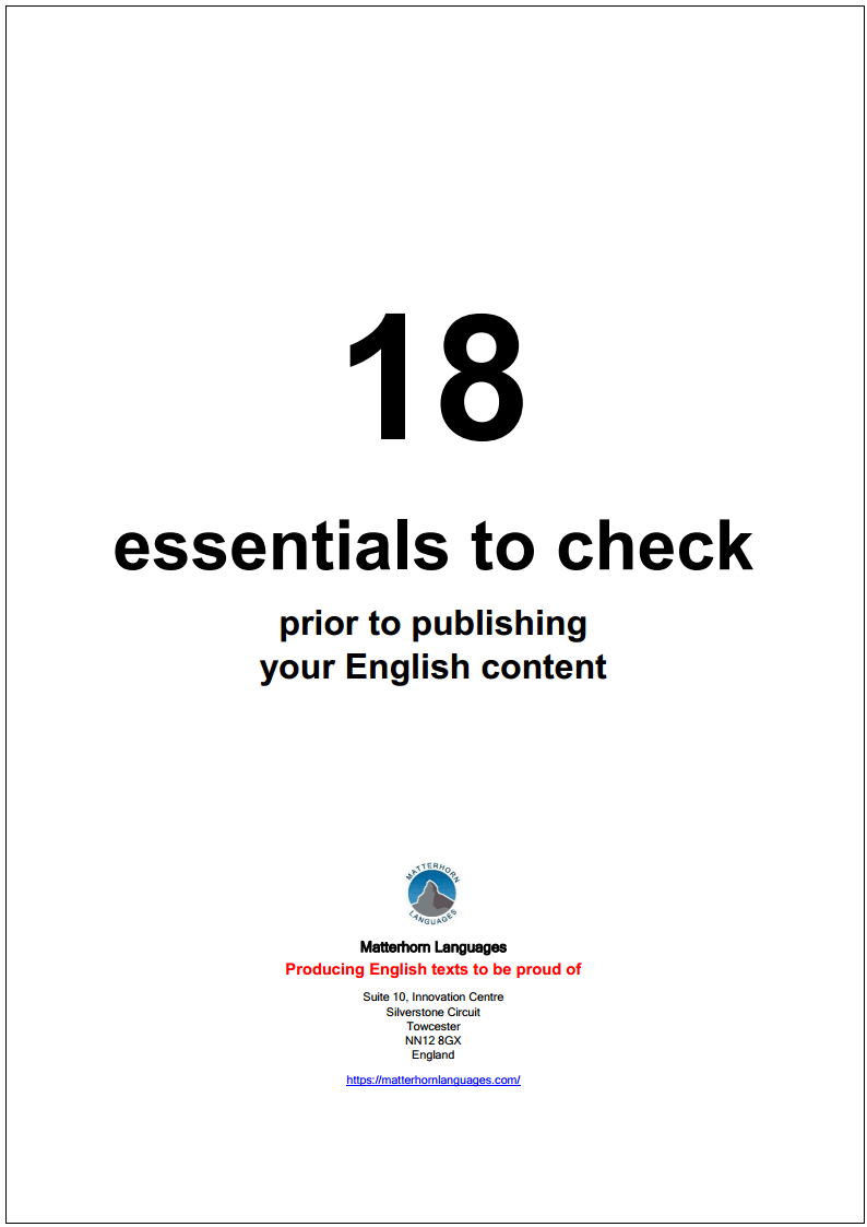 essentials to check prior to publishing your English content